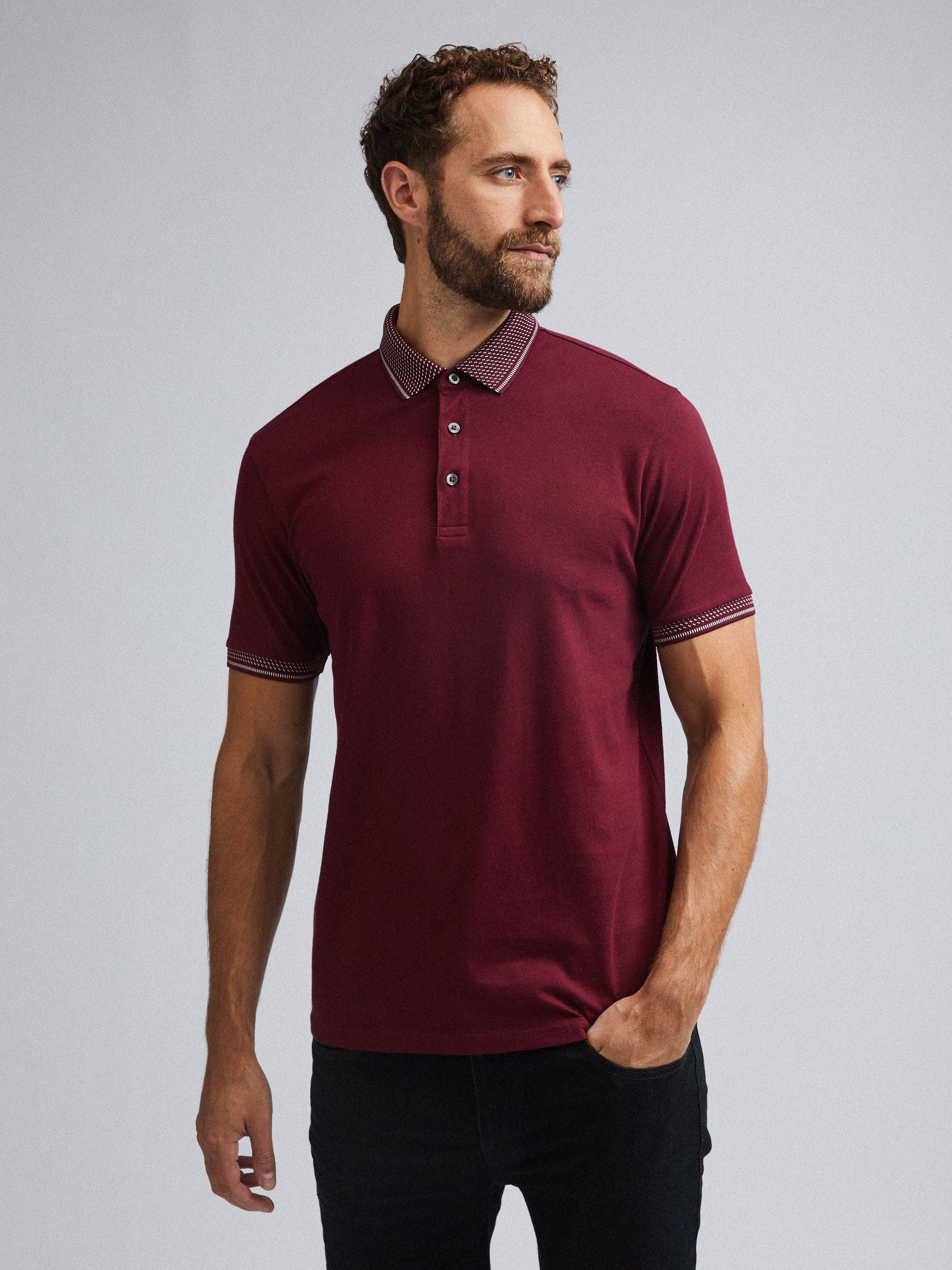 Men'S Burgundy Jacquard Collar Polo Shirt - S