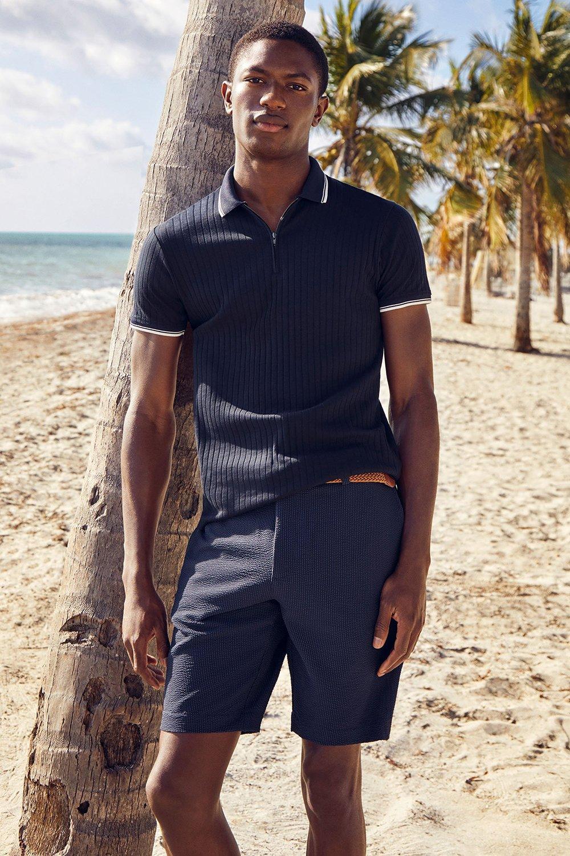 Men'S Navy Rib Zip Neck Polo Shirt - S