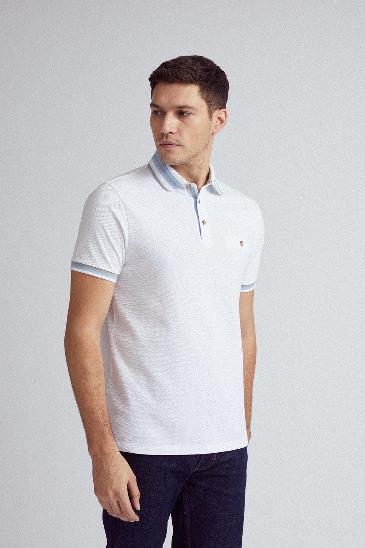 Men'S White Popcorn Tip Polo Shirt - S