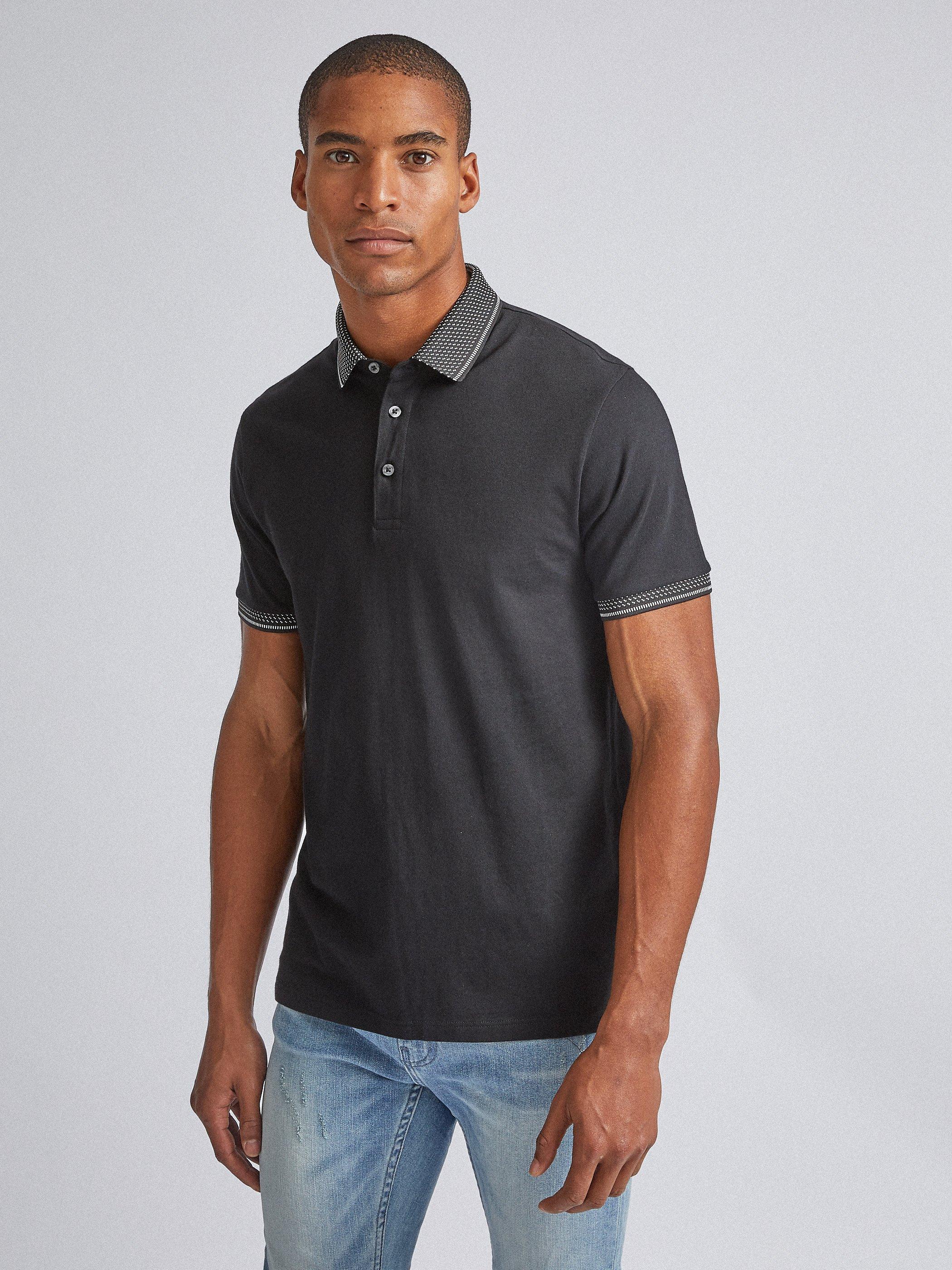 Men'S Black Jacquard Collar Polo Shirt - S