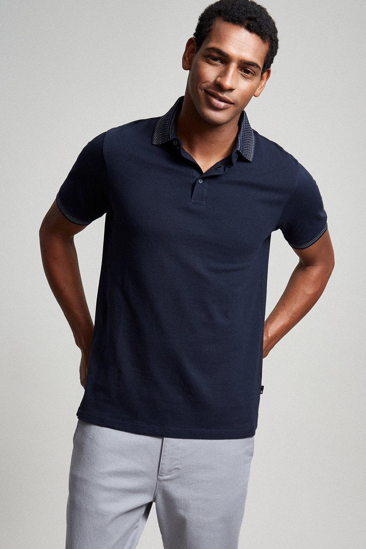Men'S Navy Jacquard Collar Polo Shirt - S