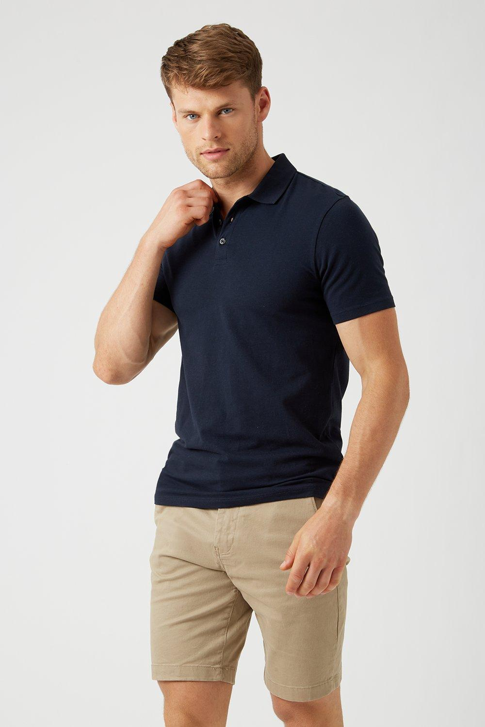 Men'S Navy Muscle Fit Polo Shirt - S