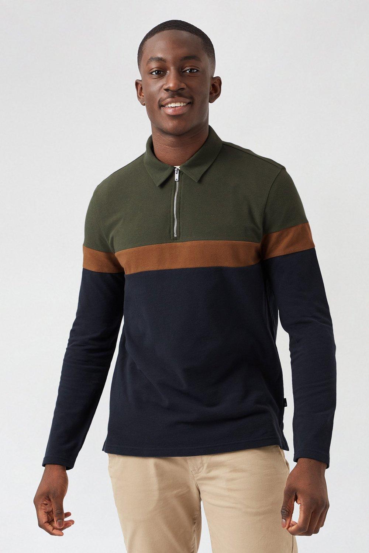 Men'S Khaki Cut And Sew Long Sleeved Polo Shirt - S