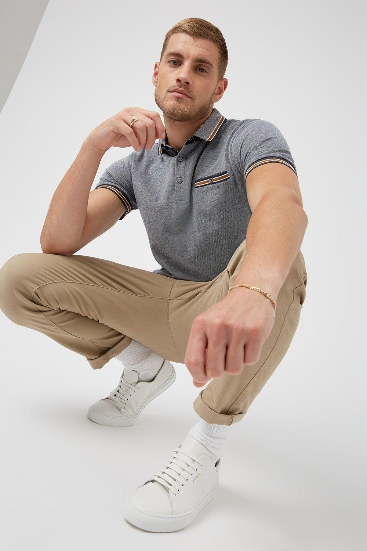 Men'S Charcoal Caramel Tip Polo Shirt - S