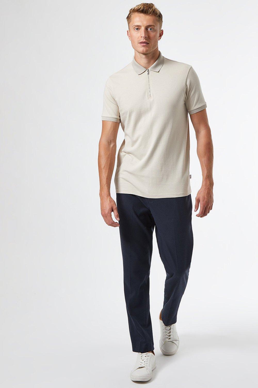 Men'S Ecru Zip Neck Polo Shirt - Beige - S