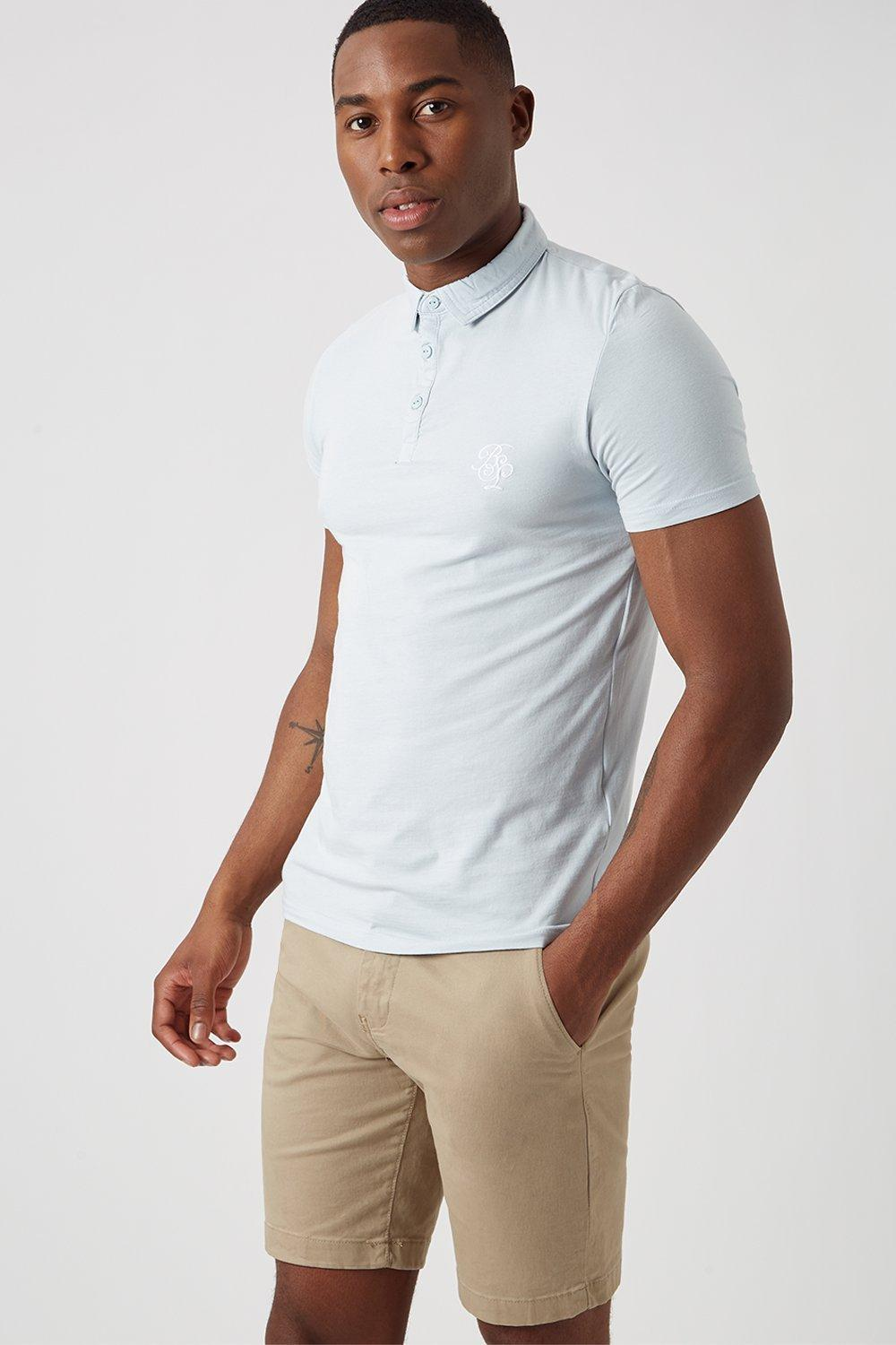 Men'S Embroidered Muscle Fit Polo Shirt - Pale Blue - L