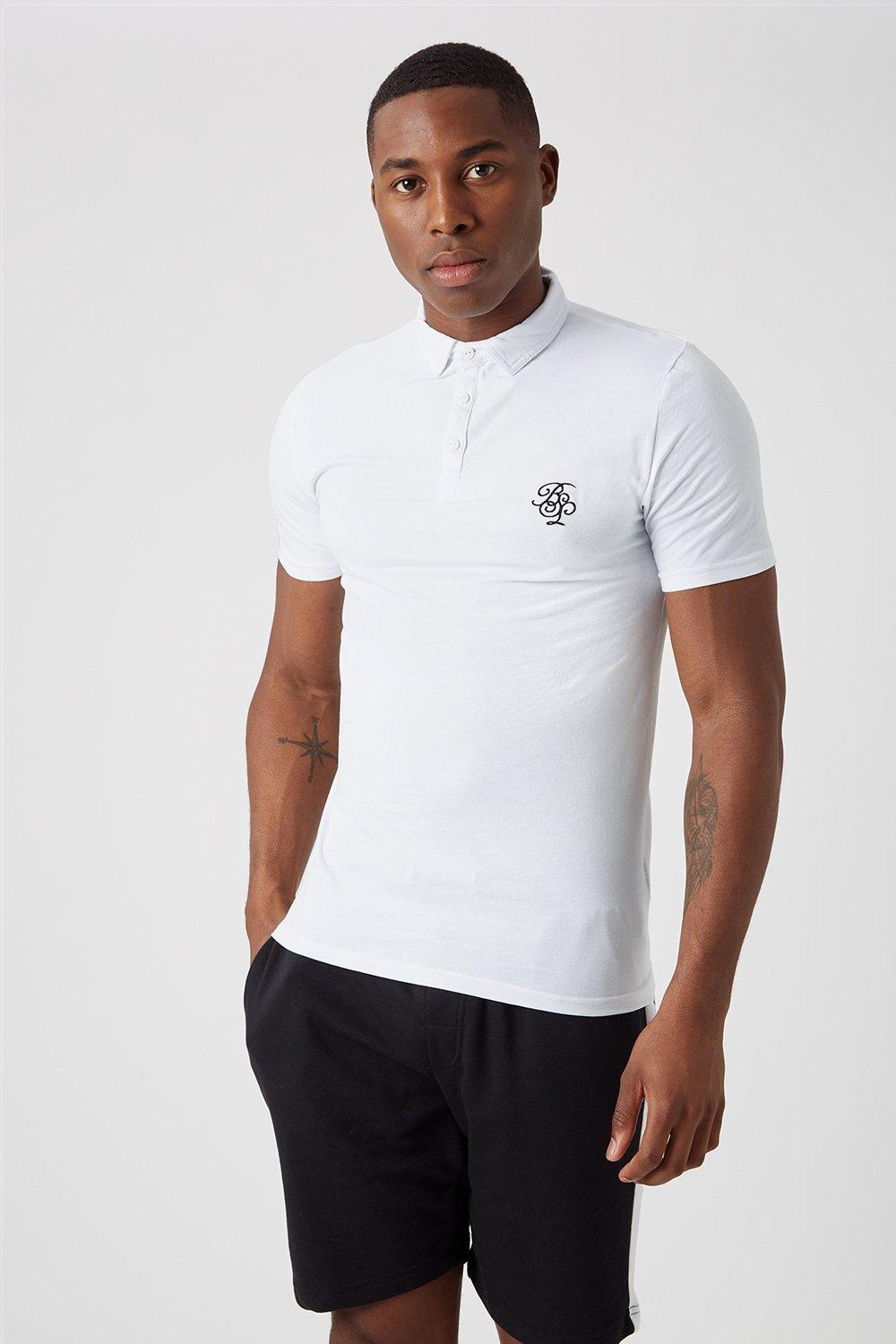 Men'S Embroidered Muscle Fit Polo Shirt - White - L