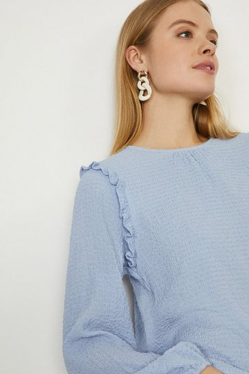 Pale blue Textured Micro Frill Top