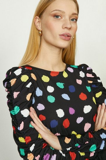 Multi Ruche Sleeve Printed Jersey Top