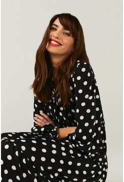 Mono Pussy Bow Spot Tiered Hem Midi Dress