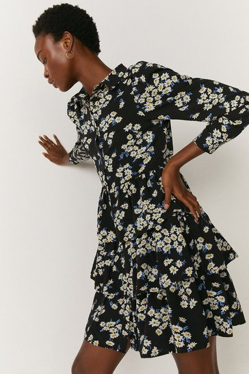 Blue Floral Tiered Hem Mini Shirt Dress
