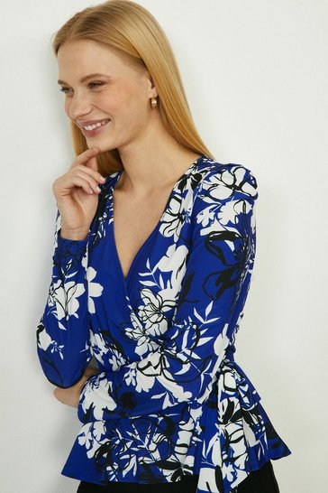 Cobalt Printed Jersey Wrap Top