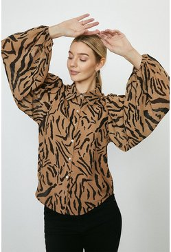 Brown Animal Print Blouson Sleeve Shirt