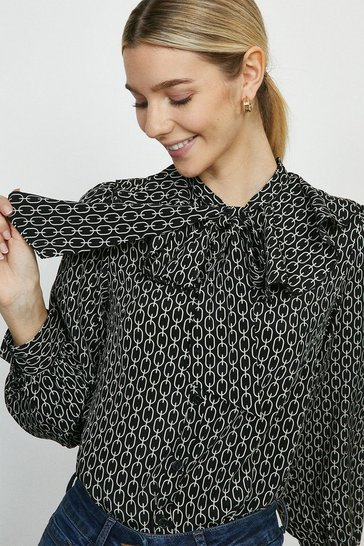 Black Printed Pussy Bow Frill Blouse