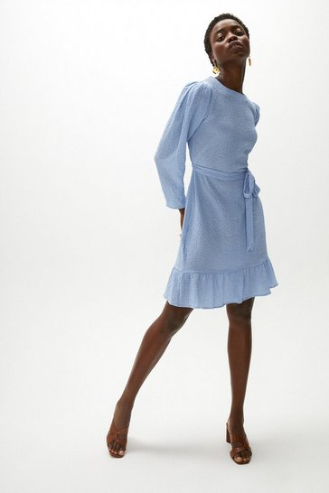 Pale blue Textured Puff Sleeve Dress