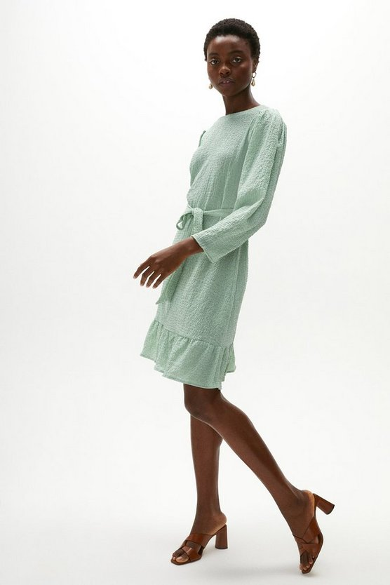 Sage Textured Puff Sleeve Dress