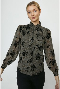 Black Spot And Floral Print Pussy Bow Blouse