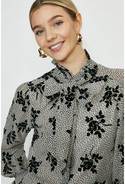 Ivory Spot And Floral Print Pussy Bow Blouse