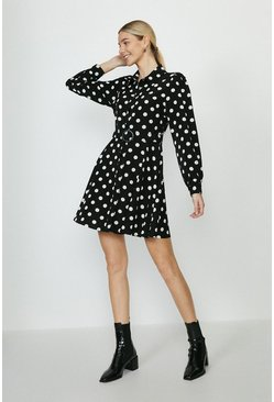 Mono Polka Dot Belted Shirt Dress