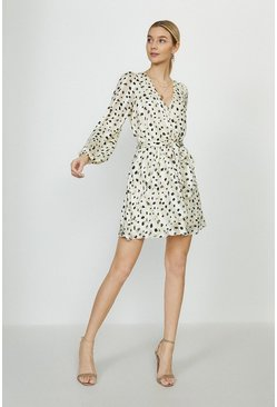 Ivory Smudge Spot Print Wrap Dress
