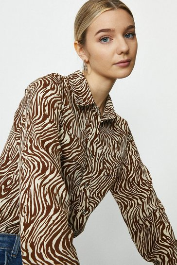 Brown Animal Print Shirt With Pockets