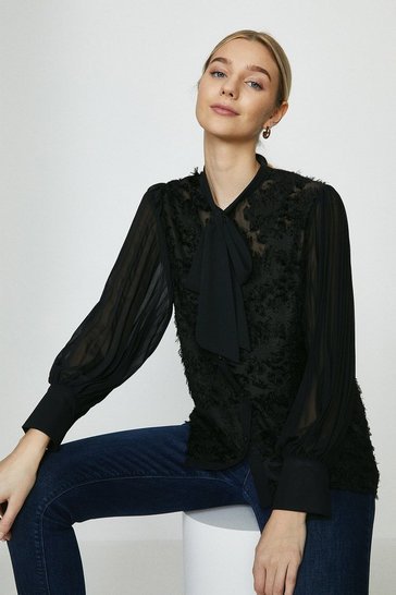 Black Lace Front Pussy Bow Blouse