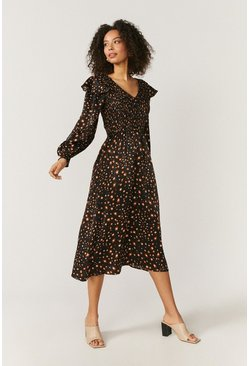 Black Spot Print V Neck Ruffle Midi Dress