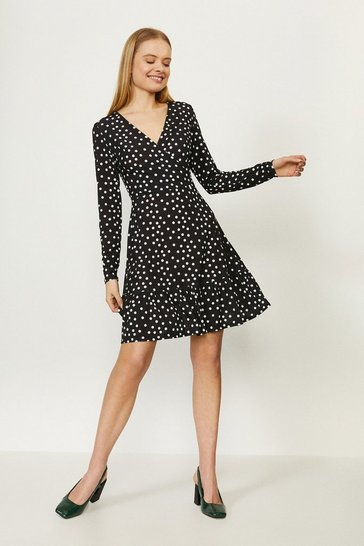 Black Printed Jersey Wrap Dress