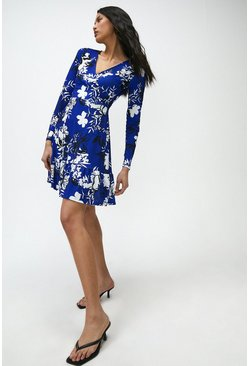 Cobalt Printed Jersey Wrap Dress
