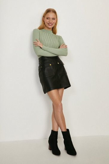 Black Leather Pocket Detail Mini Skirt