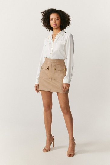 Natural Leather Pocket Detail Mini Skirt