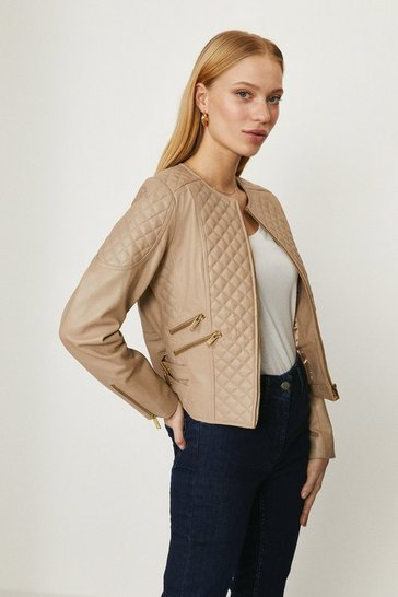 Natural Quilted Leather Biker Jacket