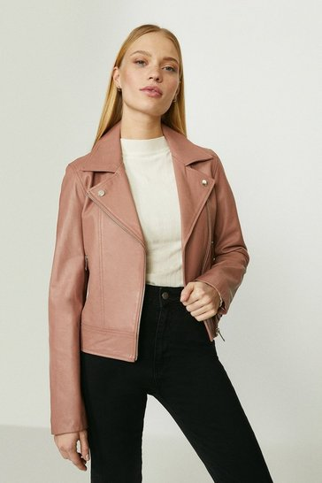 Blush Premium Leather Biker Jacket
