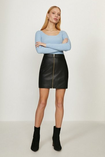 Black Leather Zip Detail Skirt