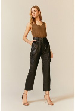 Black Leather Straight Leg Trouser