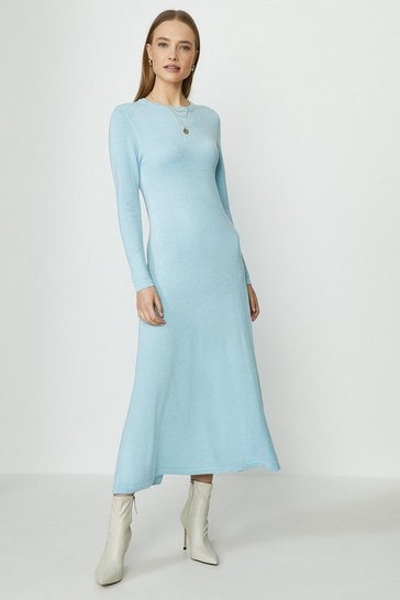 Blue Long Sleeve Knitted Glitter Midi Dress