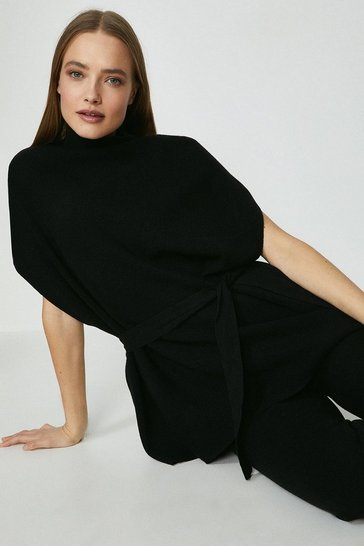 Black High Neck Top And Wide Leg Knitted Lounge Set