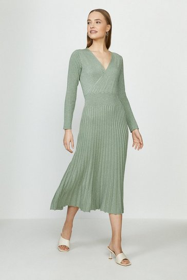 Sage Pleated Skirt Glitter Knitted Wrap Midi Dress