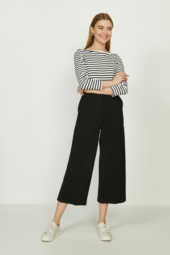 Black Wide Leg Cotton Staeen Trouser
