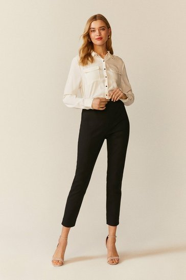 Black Skinny Cotton Sateen Trouser