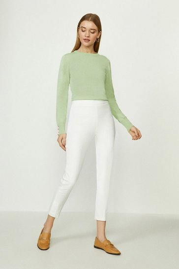 Ivory Skinny Cotton Sateen Trouser