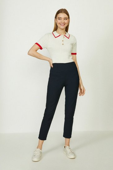 Navy Skinny Cotton Sateen Trouser