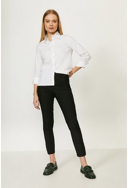 Black Crop Capri Cotton Sateen Trouser