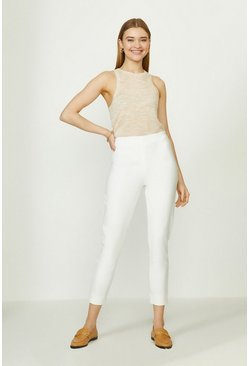 Ivory Crop Capri Cotton Sateen Trouser