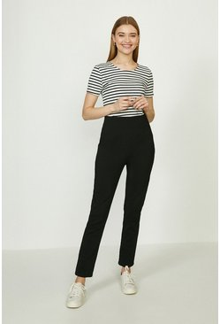 Black High Waisted Darted Cotton Sateen