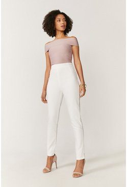 Ivory High Waisted Darted Cotton Sateen