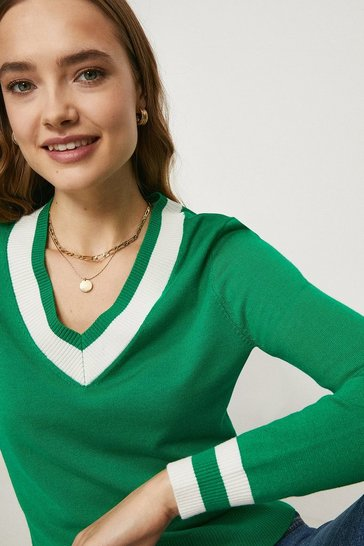 Green Knitted Cricket Jumper