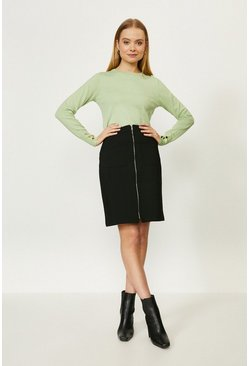 Black Cotton Sateen Skirt