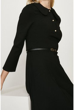 Black Ponte Dress With Collar And Belt