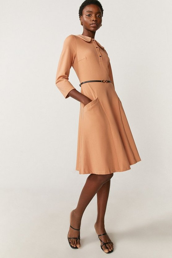 Camel Ponte Dress With Collar And Belt